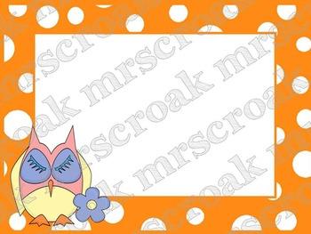 Labels: Owls on orange & white polka dots