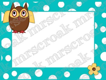Labels: Owls on turquoise & white polka dots