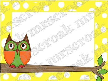 Labels: Owls on yellow & white polka dots