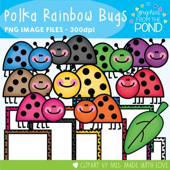 Polka Rainbow Bugs - Clipart for Teaching