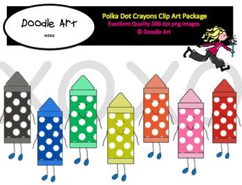 Polka dot Crayons Clipart Package