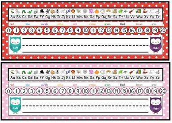 Polka dot Desk Nametags (2 sets)  Owl Theme