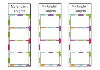 Polka dot English target bookmarks