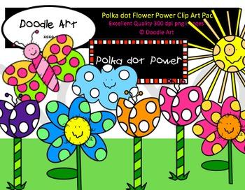 Polka dot Flower Power Clipart Pack