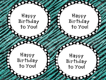 Polka dot Happy Birthday Crazy straw labels