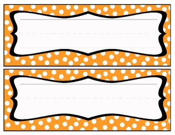 Polka dot Name Cards - Orange/White