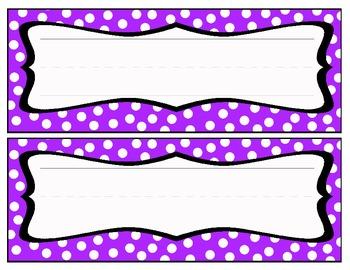 Polka dot Name Cards - Purple/White
