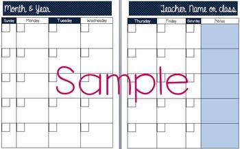 Polka-dot Red, White & Blue Editable Calendar