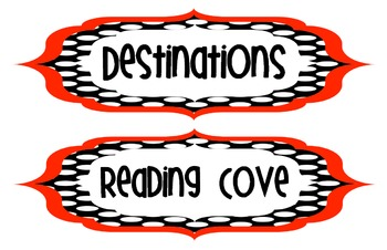 Polka dot Red and Black center signs & Pirate theme signs