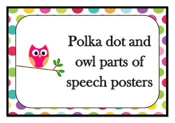 Polka dot and owl parts of speech posters