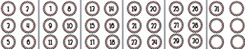 Polka dot circle number  3in labels centers number line