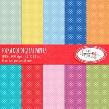 Polka dot digital papers freebie