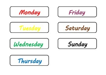Polka dot kids calendar - days, months, weather, season