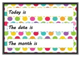 Polka dot kids calendar - days, months, weather, season