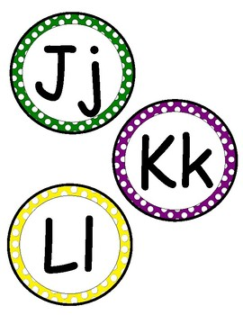 Polka dot letter for library or word wall