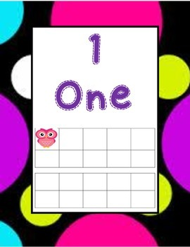 Polka dot owl ten frame numbers