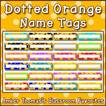 Polka dot student name plates: Orange