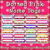 Polka dot student name plates: Pink