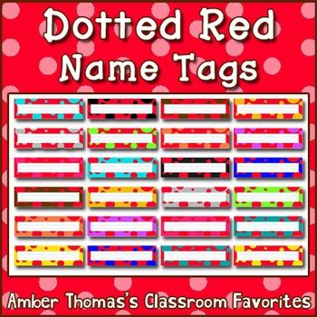 Polka dot student name plates: Red