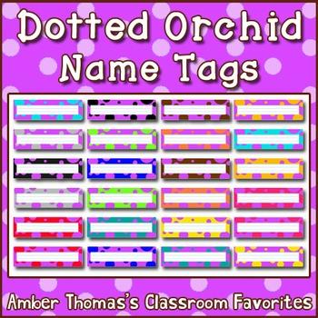Polka dot student name plates: Orchid