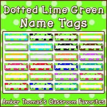 Polka dot student name plates:  Lime Green