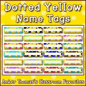 Polka dot student name plates:  Yellow
