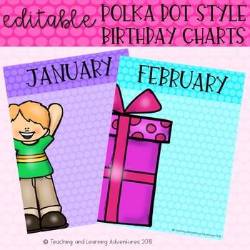 Polka dot style editable birthday chart