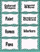 Polka dot supply labels for classrooms