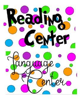 Polka dot theme classroom signs -center signs