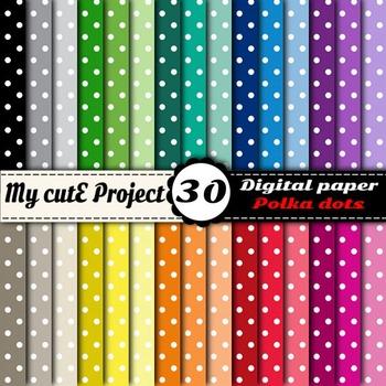 """Polka dots 1 - DIGITAL PAPER - Instant Download - Scrapbooking - A4 & 12x12"""""""