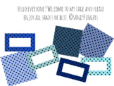 Polka dots in blue. Labels and Patterns.