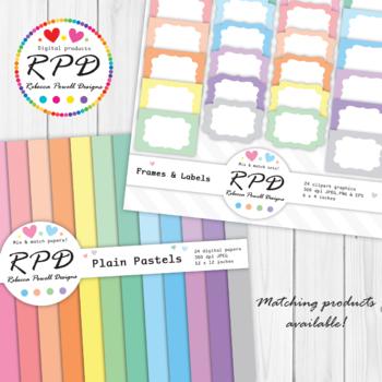 Polka dots spots pattern pastel colours & white digital paper set/ backgrounds