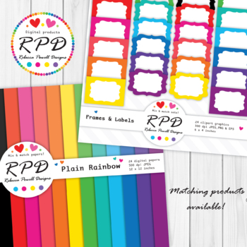 Polka dots spots pattern rainbow colours & white digital paper set/ backgrounds
