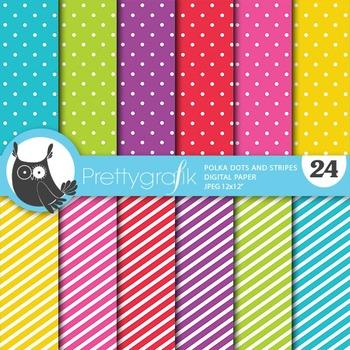 Polka dots stripes digital paper, commercial use, scrapboo