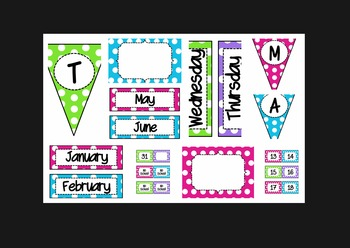 PolkaDot Bundle (lunch, calendar, subject pennants, word wall letters, and more)