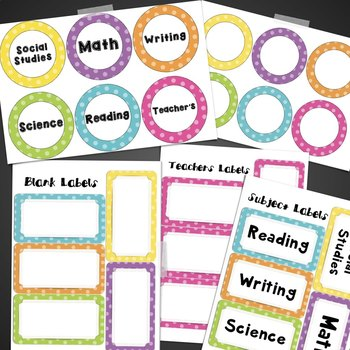 Subject Posters & Labels- Colorful Polka Dot Background