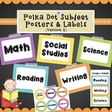Subject Posters & Labels- Colorful Polka Dot Background Version 2