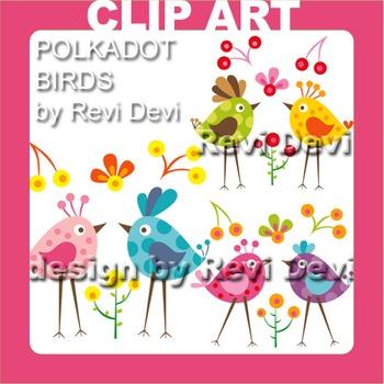 Polkadot Birds clip art 13007 (teacher resource)