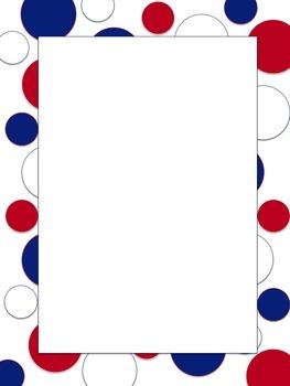 Polkadot Border *Bills* blue, red, white USA