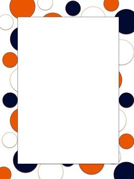 Polkadot Border *Broncos* Blue, Orange, White