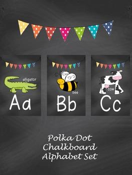 Polkadot Chalkboard Alphabet Set