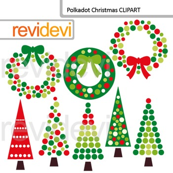 Polkadot Christmas Clip Art / Red Green Christmas Trees and Wreath Clipart