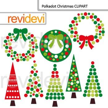 Polkadot Christmas Clip Art / Red Green Christmas Trees an