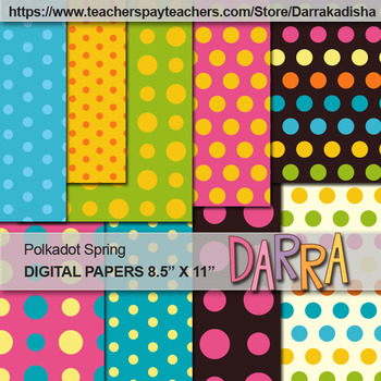Polkadot Spring Patterned Background Digital Papers - Commercial Use