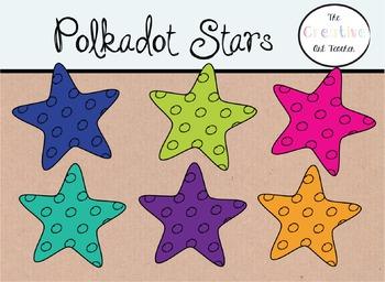 Polkadot Stars - Digital Clipart