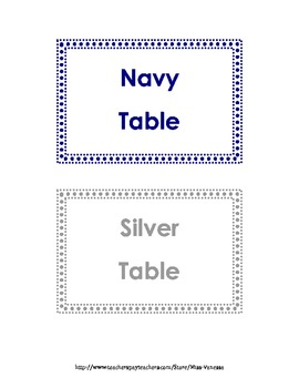 Polkadot Themed Table Names and Labels by Color! 20 Table Names!
