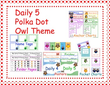 Polkda Dot and Owl themed, Daily 5 Charts, Posters, and More