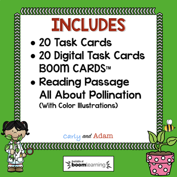NGSS Pollination Task Cards | Pollination Reading Passage | Digital Boom Cards™
