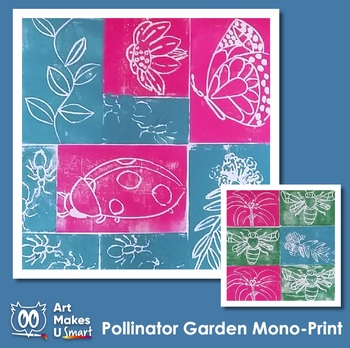 Pollinator Garden Monoprint STEAM Art Lesson Power Point