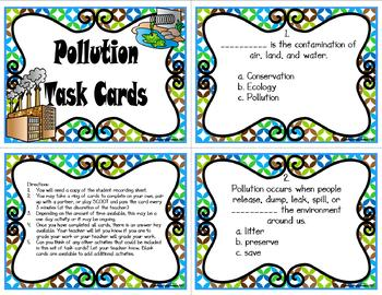 Pollution: Air, Land, and Water Task Cards